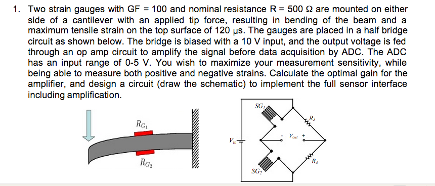 Two strain gauges with GF = 100 and nominal resist