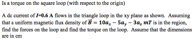 Is a torque on the square loop (with respect to th