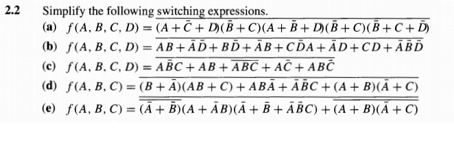 Simplify the following switching expressions. f(A