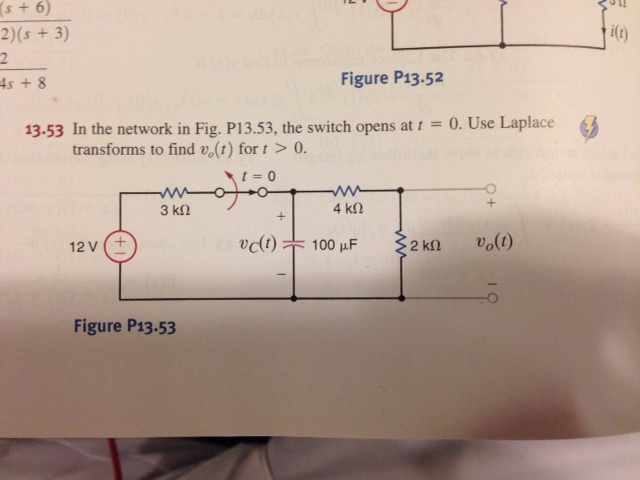 In the network in Fig. P1 3.53, the switch opens a