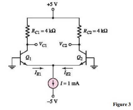 For the circuit shown in Figure 3, if ? = 200 for