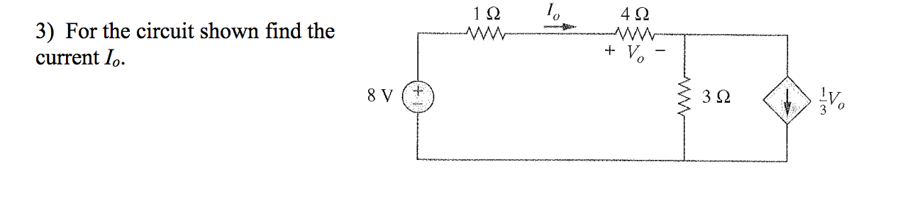 For the circuit shown find the current I0.