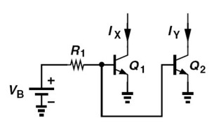 In the circuit depicted, IS1 = 2IS2 = 4x10-16 A. I