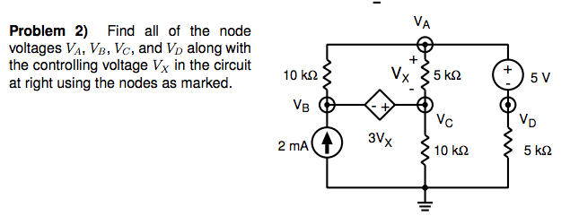 Find all of the node voltages VA, VB, Vc, and VD a
