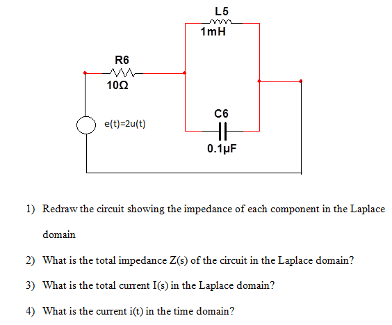 Redraw the circuit showing the impedance of each c