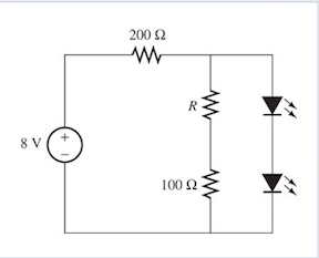 Determine the current through the LED when R&