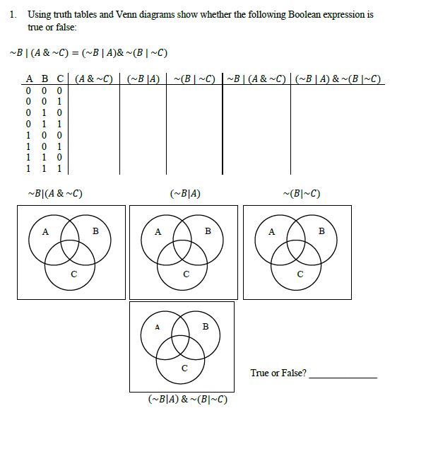 1 using truth tables and venn diagrams show wheth chegg using truth tables and venn diagrams show whether the following boolean expression is true ccuart Choice Image