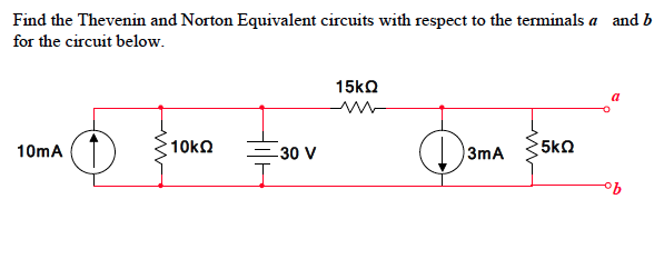 Find the thevenin and norton equivalent circuits w