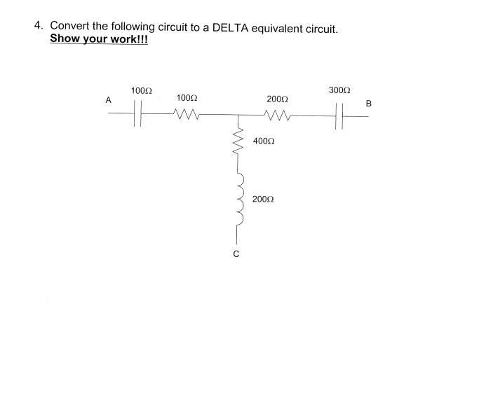 Convert the following circuit to a DELTA equivalen
