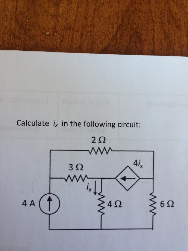 Calculate ix in the following circuit: