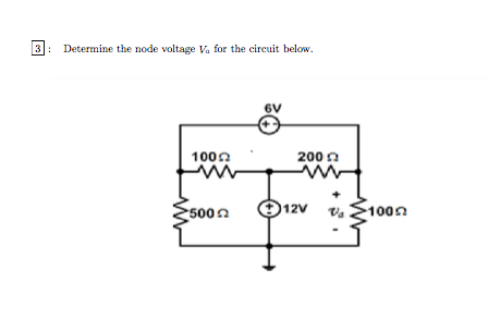 Determine the node voltage Va for the circuit belo