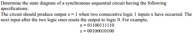Determine the state diagram of a synchronous seque