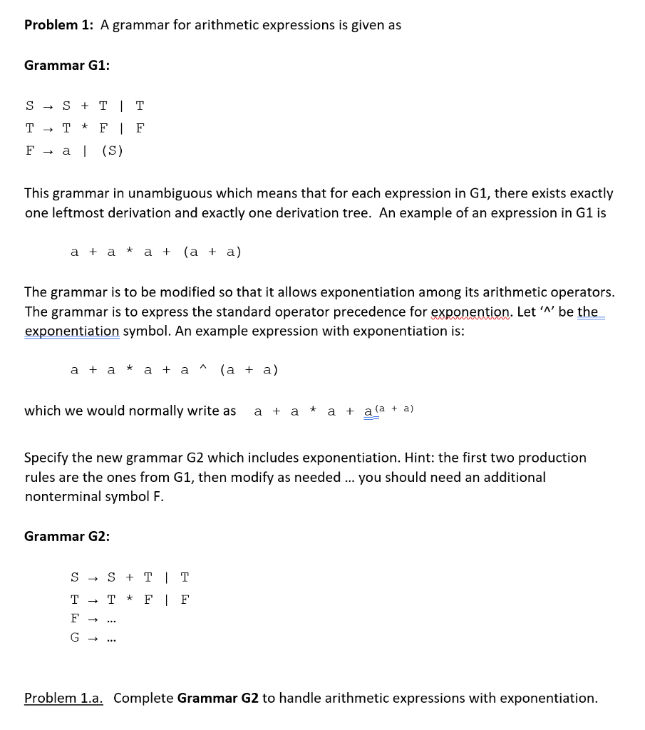 Solved problem 1 a grammar for arithmetic expressions is problem 1 a grammar for arithmetic expressions is given as grammar g1 f biocorpaavc