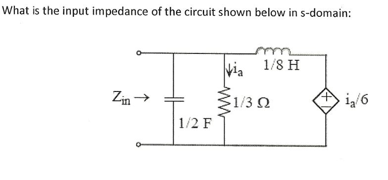 What is the input impedance of the circuit shown b