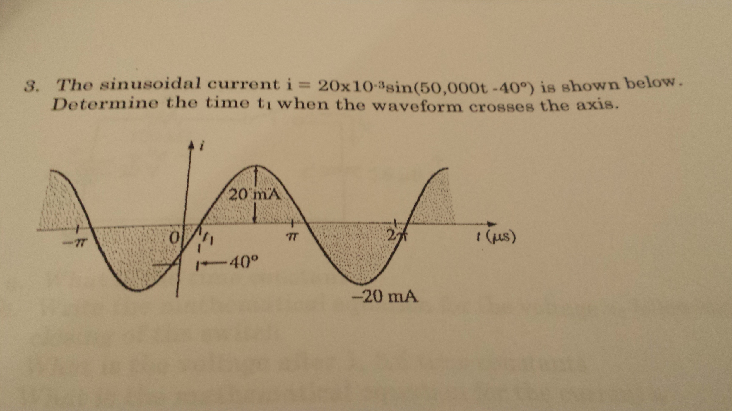 The sinusoidal current I = 20*10-3sin(50.000t-40 d