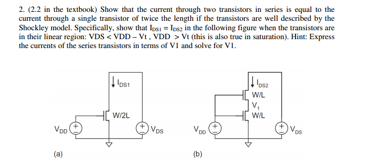 Show that the current through two transistors in s