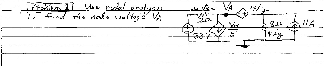 Use nodal analysis to find the node voltage VA