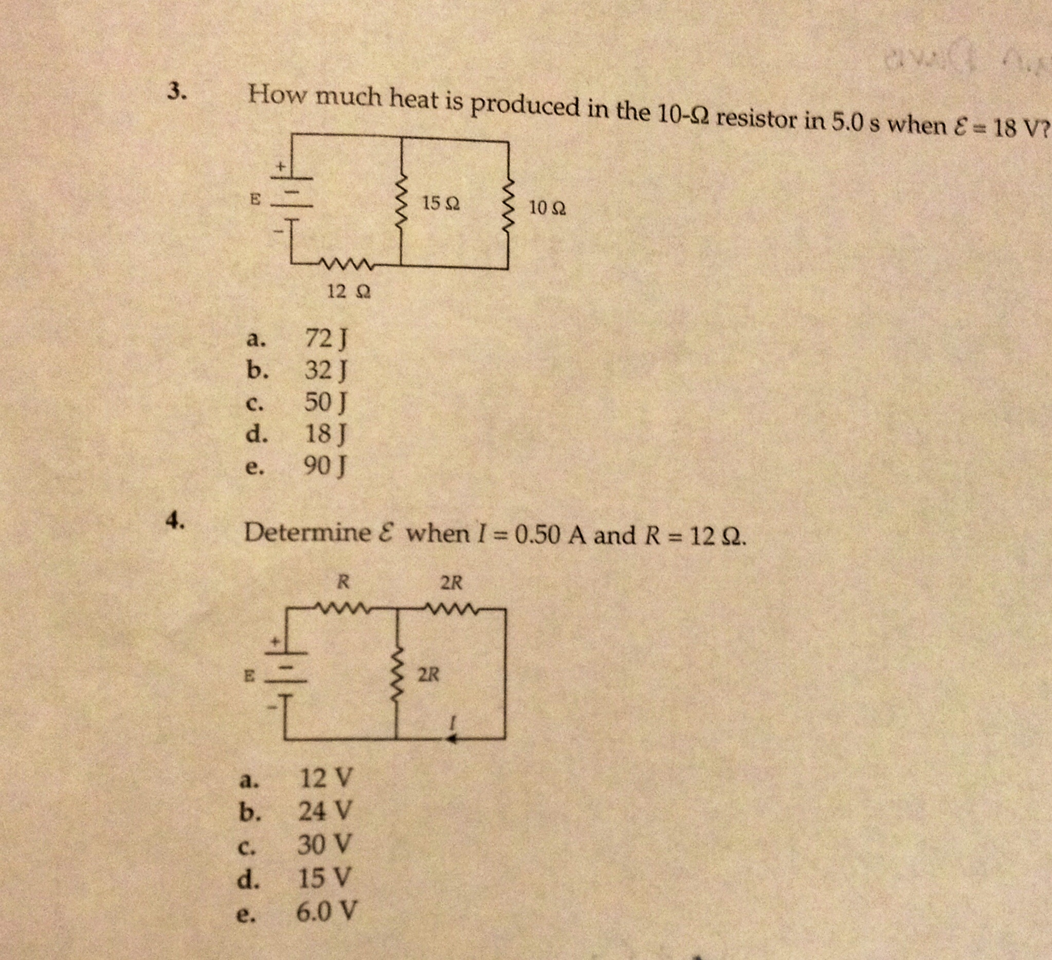 How much heat is produced in the 10-ohm resistor i
