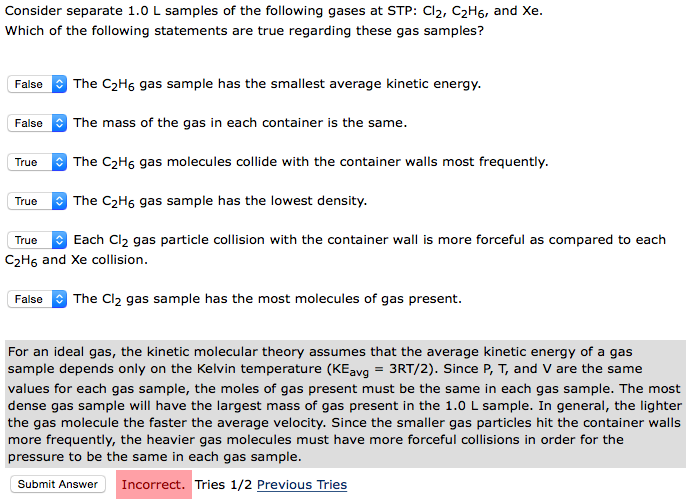 Consider Separate 1.0 L Samples Of The Following G... | Chegg.com