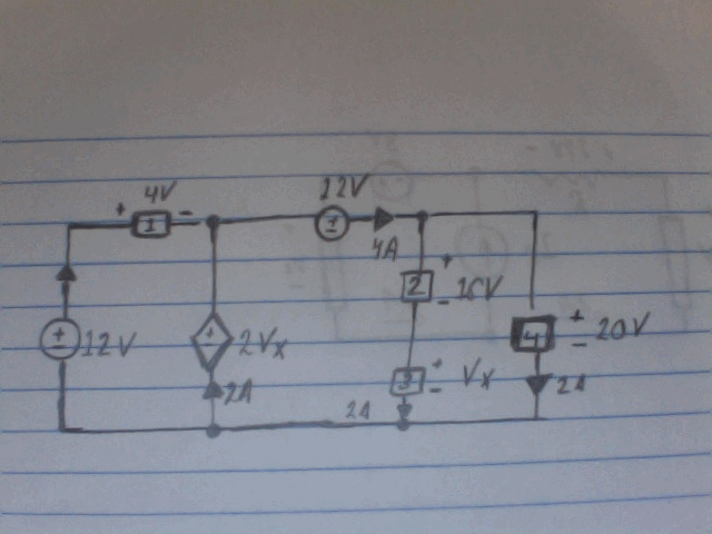For the following circuit, find the power absorbed