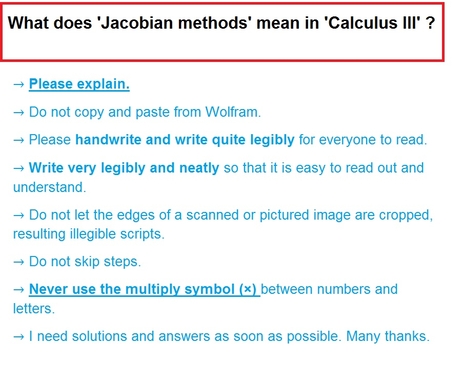 Solved What Does Jacobian Methods Mean In Calculus Iii