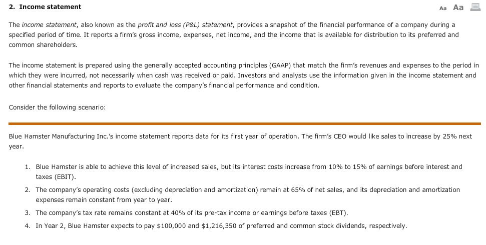 loss profit statement