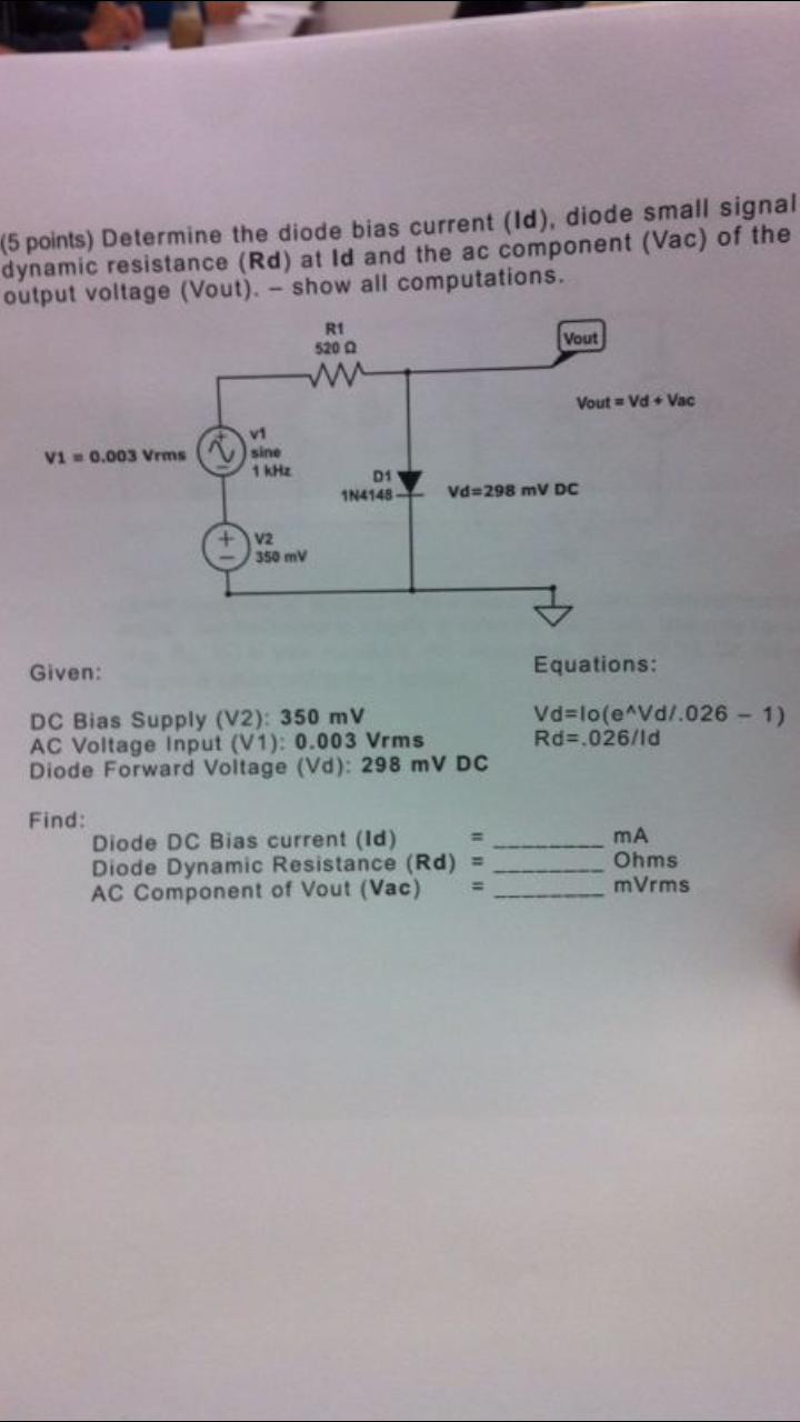 Determine the diode bias current(id)diode small si