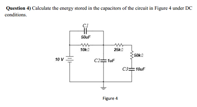 Calculate the energy stored in the capacitors of t