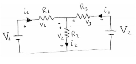 Find i1, i2, and i3 in the following circuit, in t