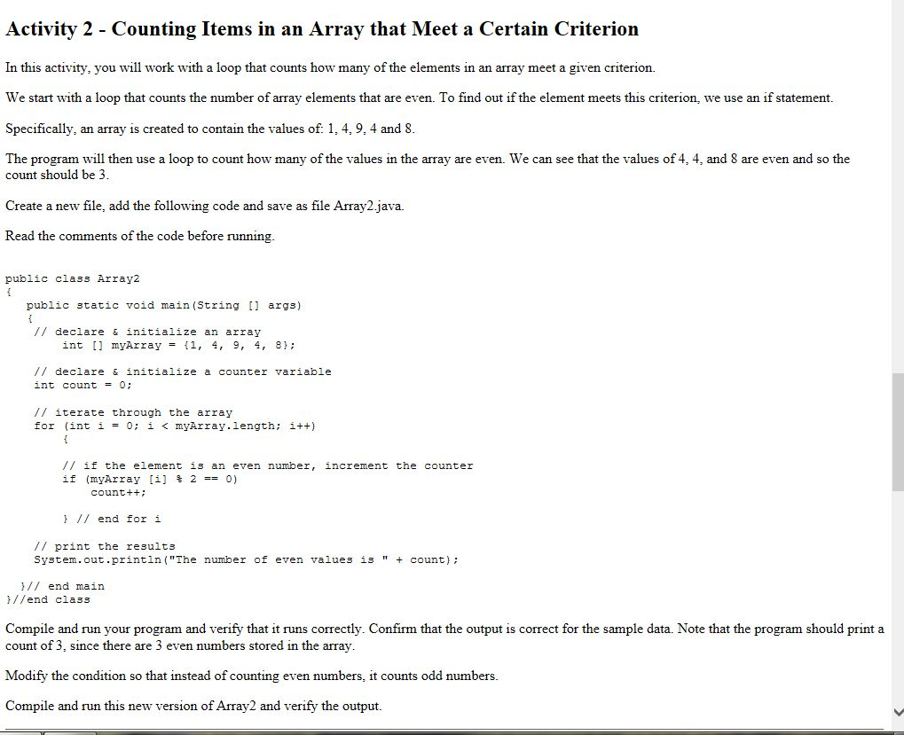arrays in java how to find a certain index