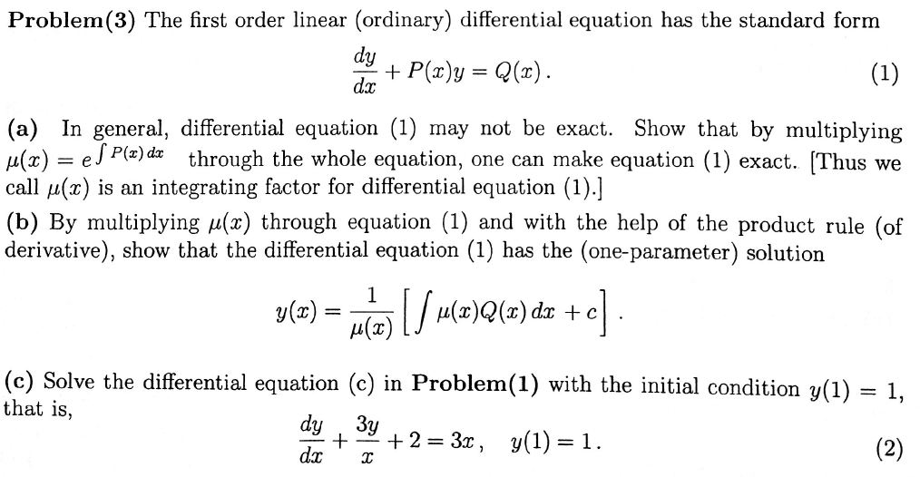 Solved The First Order Linear Ordinary Differential Equ
