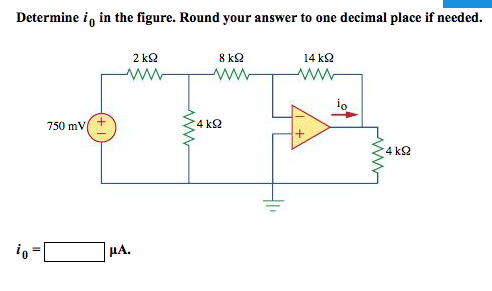Determine i0 in the figure. Round your answer to o