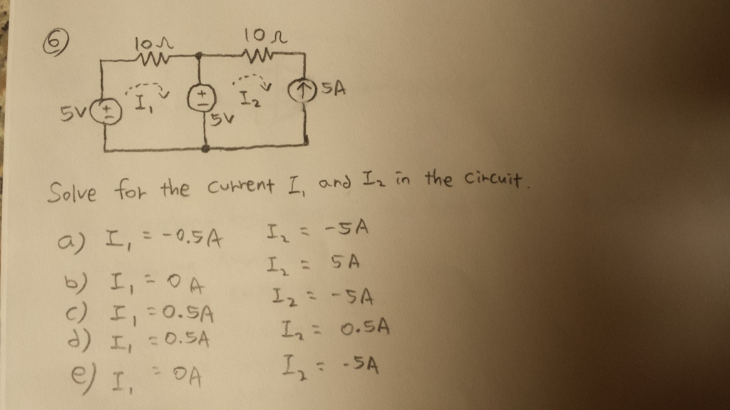 solve the current I1 and I2 in the circuit.