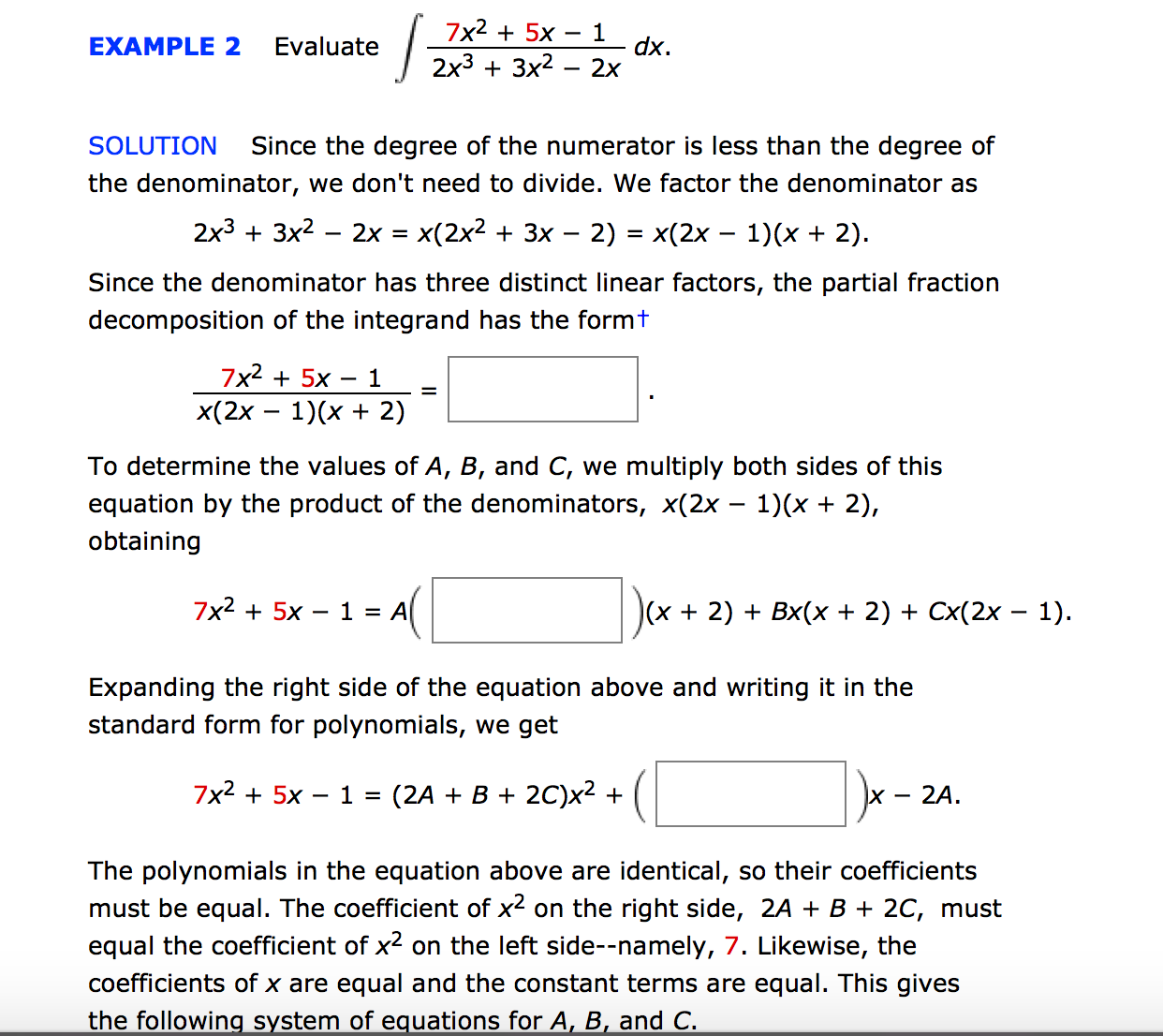 Solved 7x2 5x 1 example 2 evaluate dx 2x3 3x2 2x solution 7x2 5x 1 example 2 evaluate dx 2x3 3x2 2x solution falaconquin