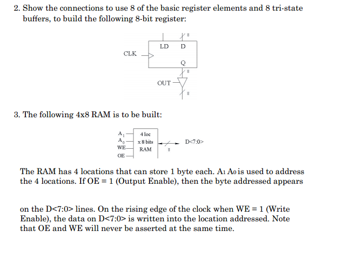 Show the connections to use 8 of the basic registe