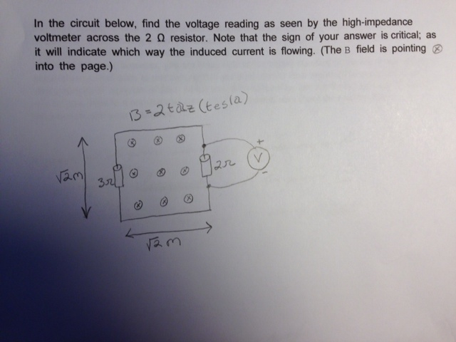 In the circuit below, find the voltage reading as