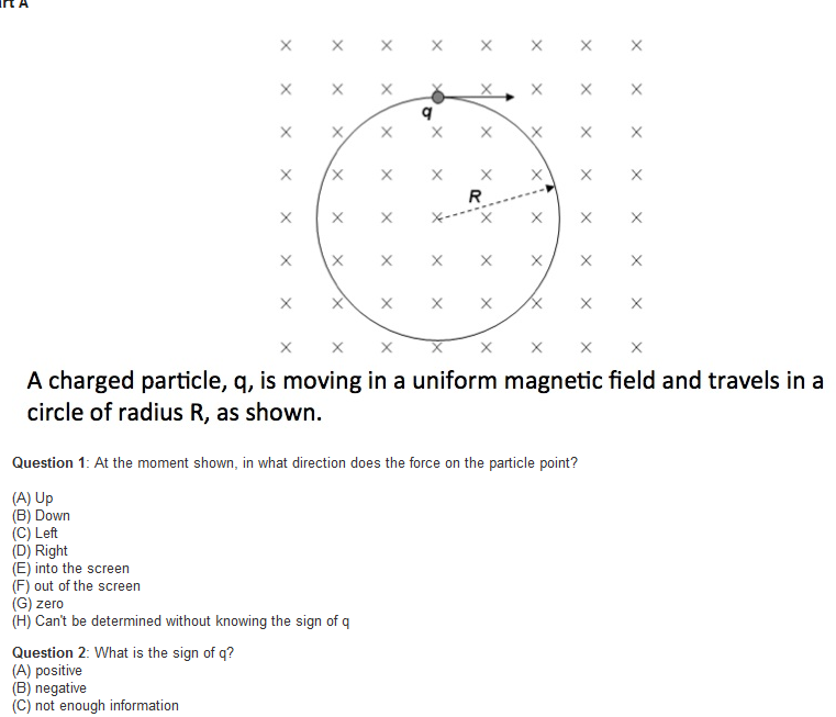 A charged particle, q, is moving in a uniform ma