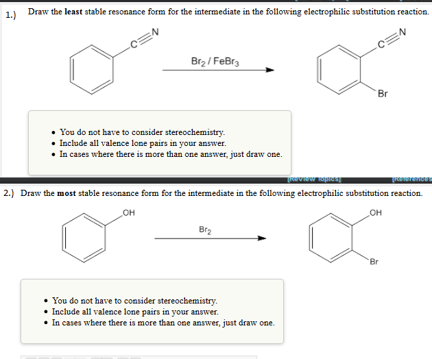 1.) Draw The Least Stable Resonance Form For The I... | Chegg.com