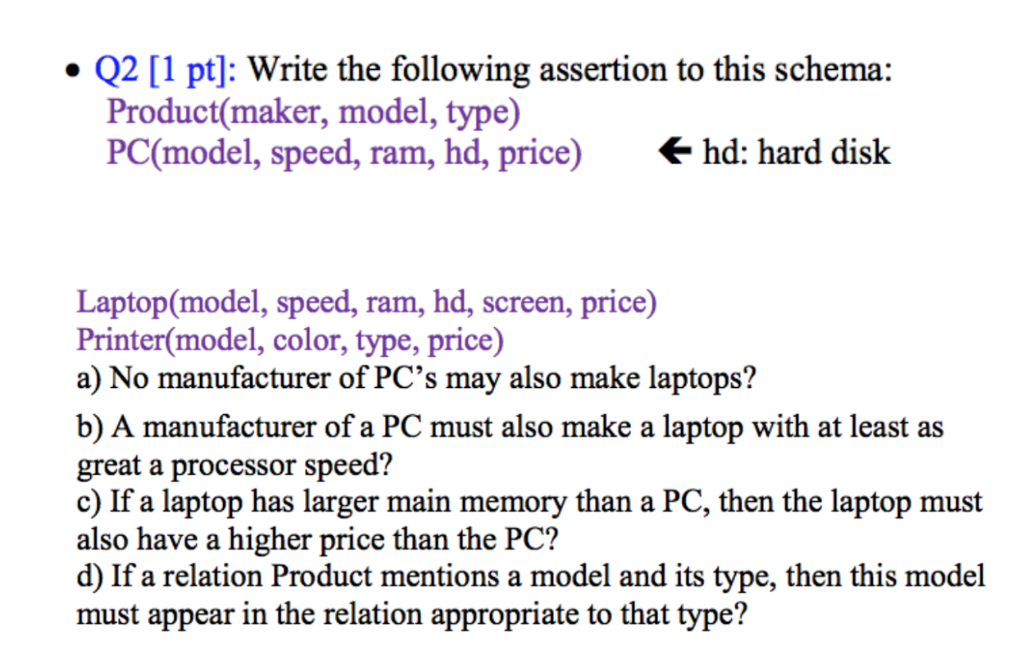 Q2 1 pt write the following assertion to this chegg question q2 1 pt write the following assertion to this schema productmaker model type pcmodel sciox Image collections