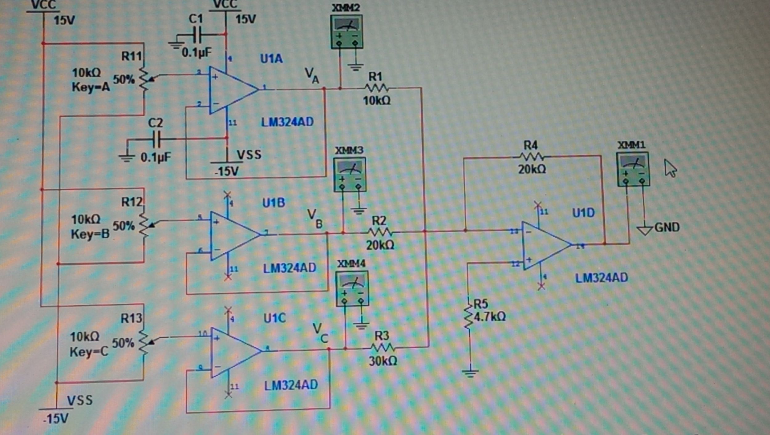 Calculate all voltages Va,Vb, Vc, Voltage gain,