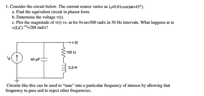 Consider the circuit below. The current source var
