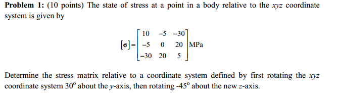 The state of stress at a point in a body relative