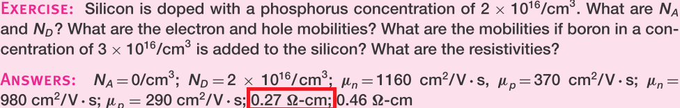 Silicon is doped with a phosphorus concentration o