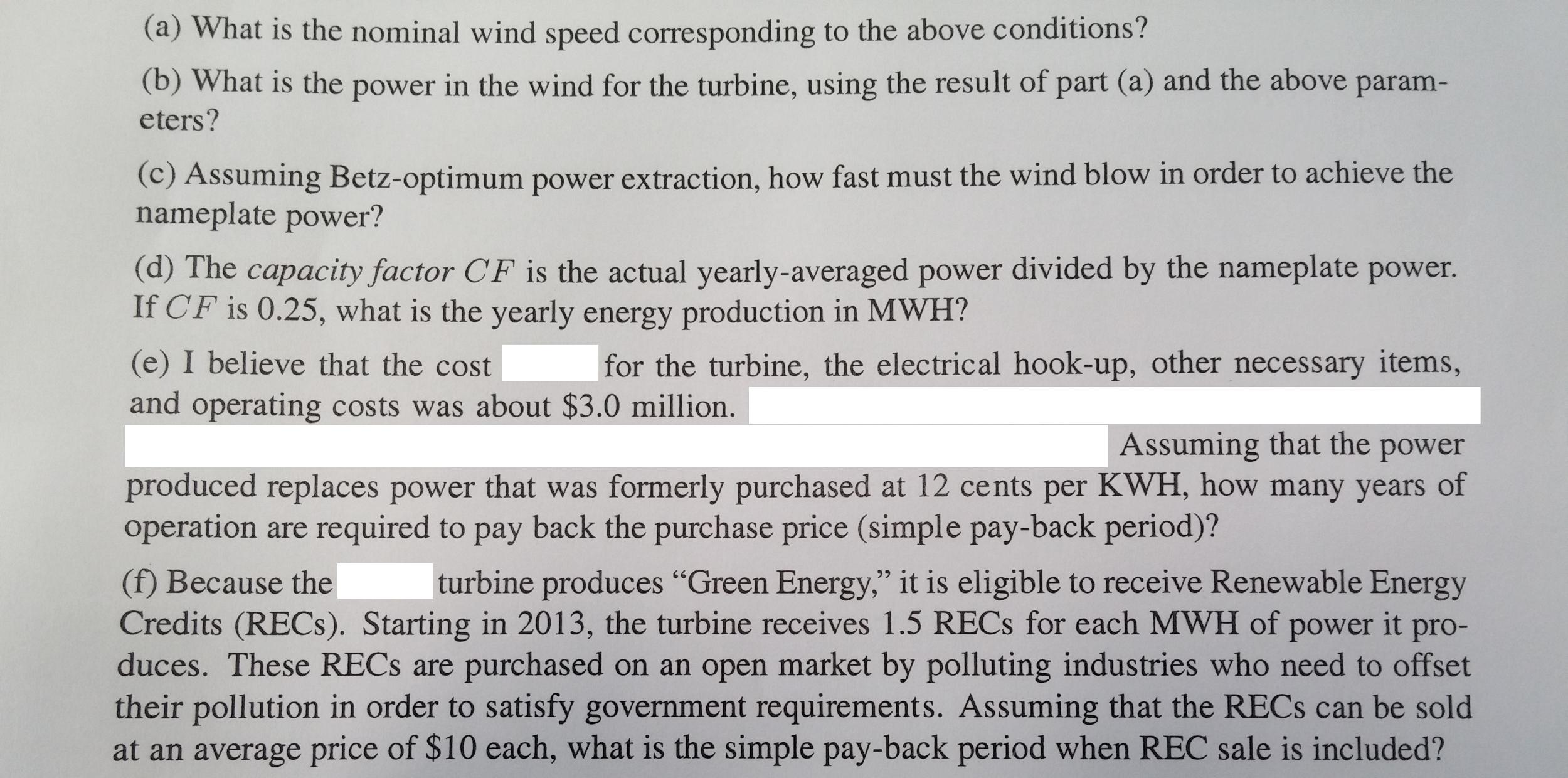 Economic Value A Turbine The Nominal Parameter