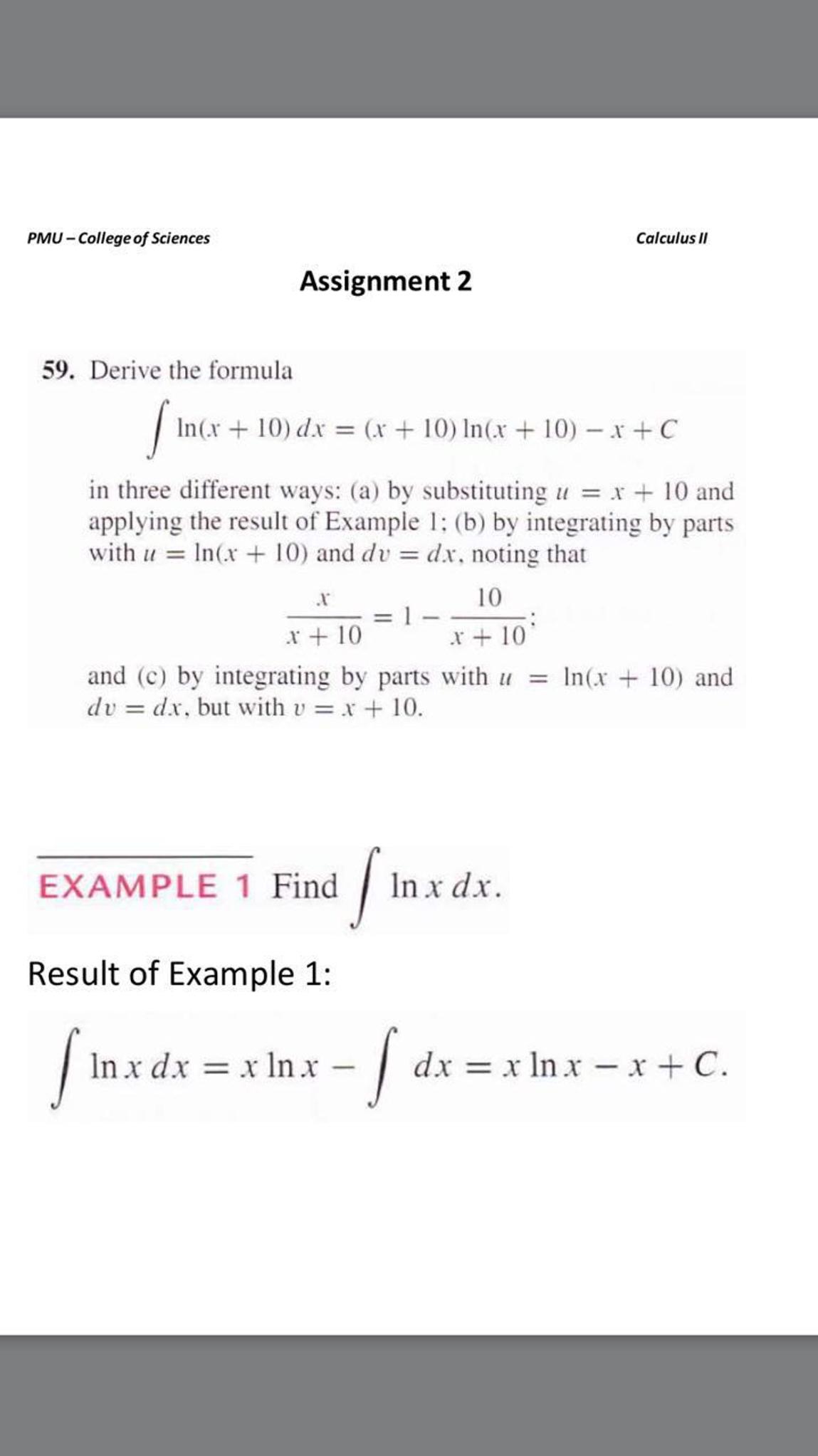 Derive the formula integral lnx 10 dx x 1 chegg derive the formula integral lnx 10 dx x 1 sciox Choice Image