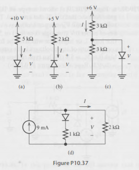 Find the values of I and V for the circuits of , a