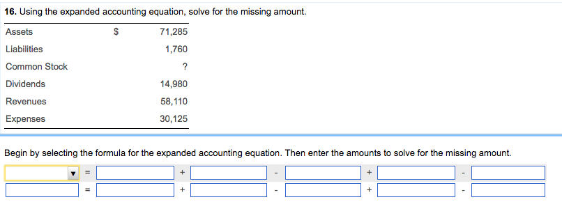 Using The Expanded Accounting Equation, Solve For ... | Chegg.com