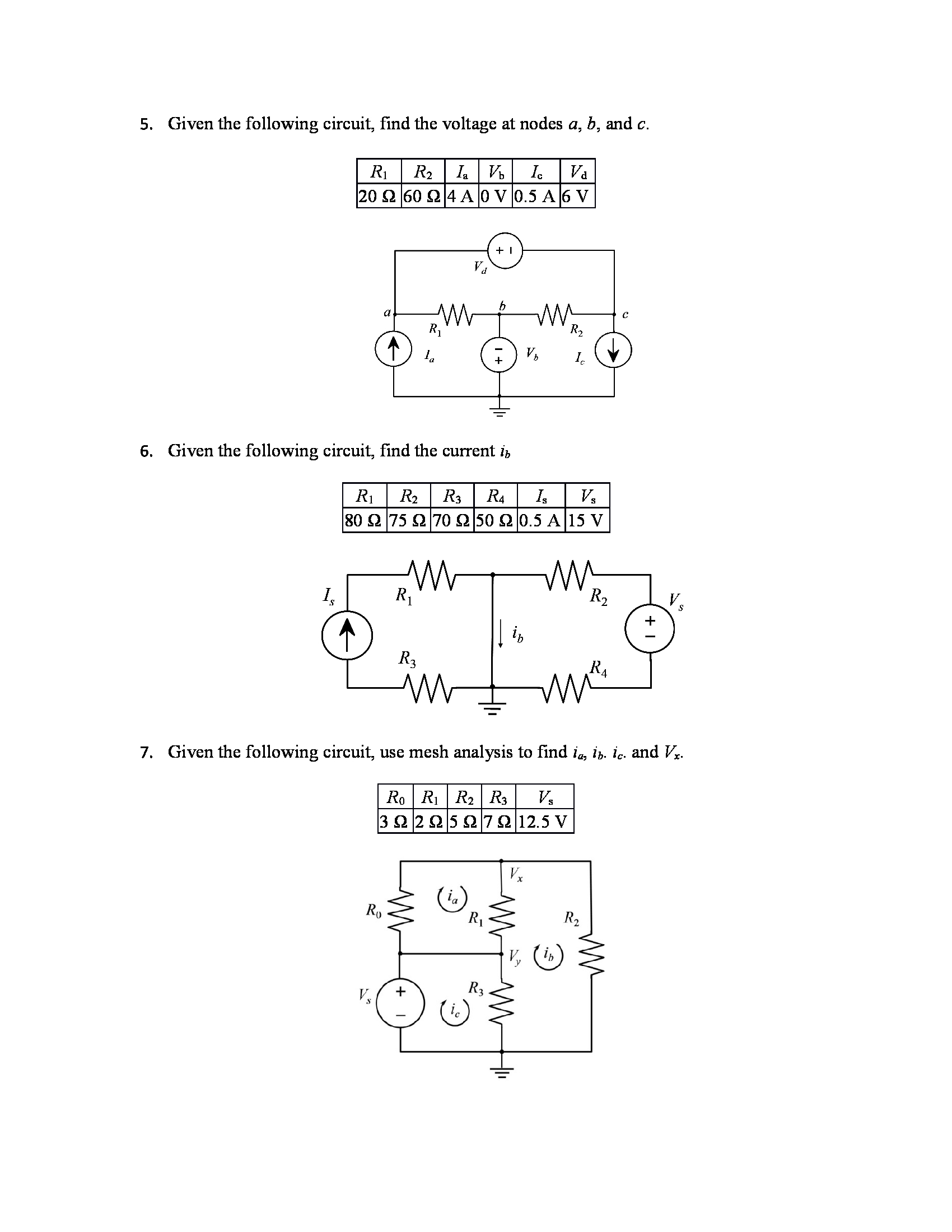 Given the following circuit, find the voltage at n