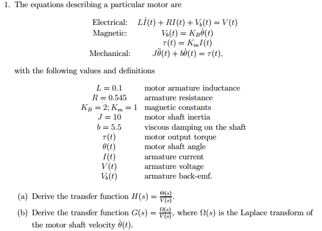 The equations describing a particular motor are E