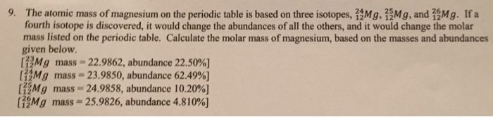 The atomic mass of magnesium on the periodic table chegg the atomic mass of magnesium on the periodic table urtaz Images